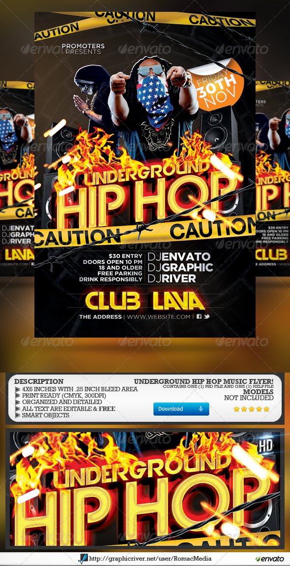 GraphicRiver Underground Hip Hop Party Flyer 4859931