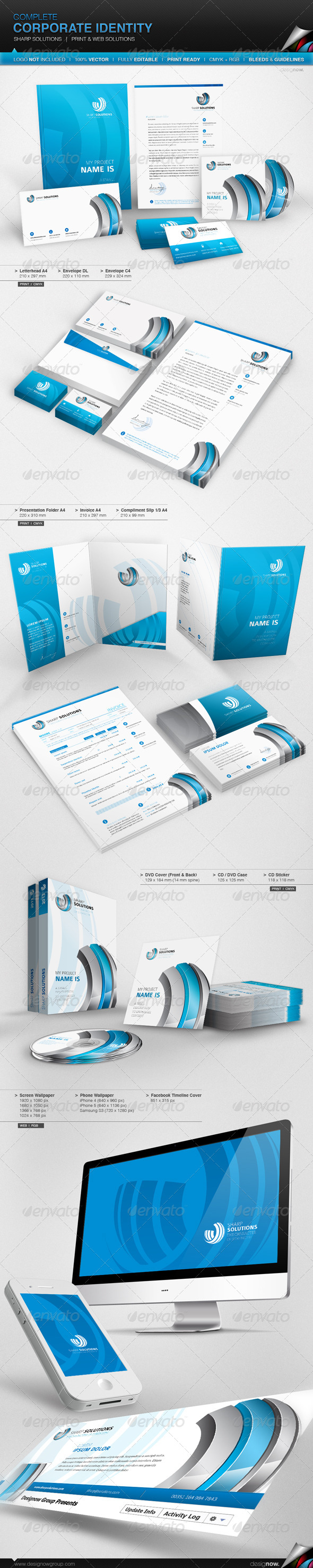 GraphicRiver Corporate Identity Sharp Solutions 4860244