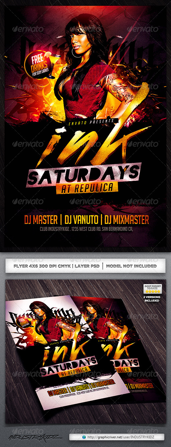 Tattoo Flyer Template - Clubs & Parties Events