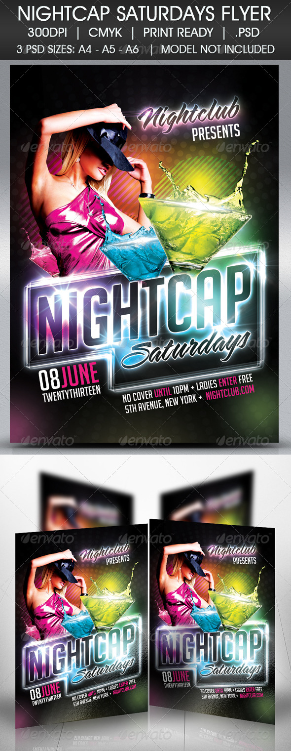 GraphicRiver Nightcap Saturdays Flyer 4720344