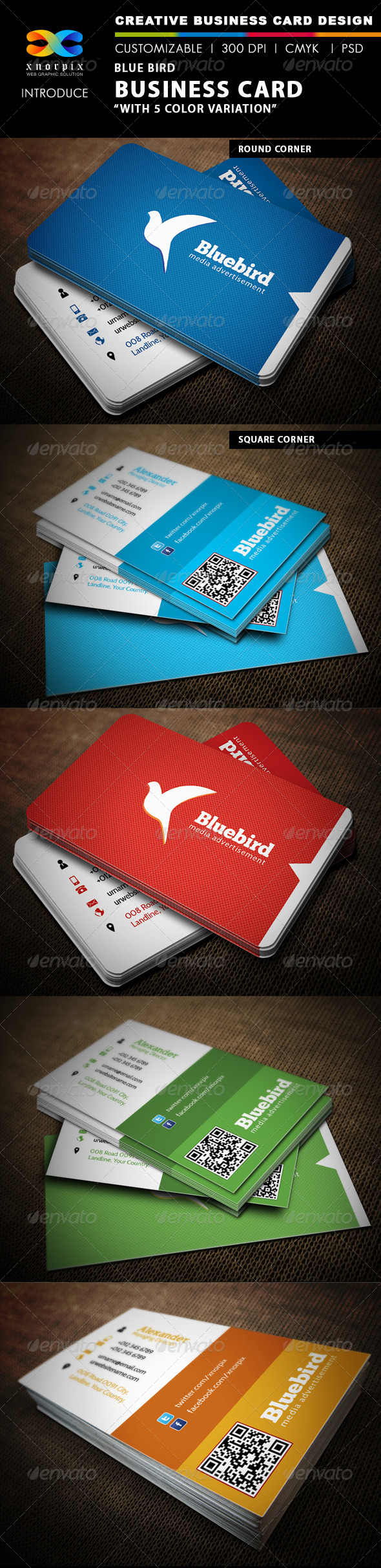 GraphicRiver Blue Bird Business Card 4860732
