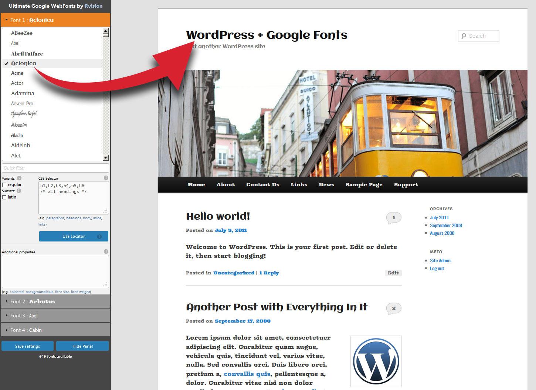 Ultimate Google Web Fonts fronend interface