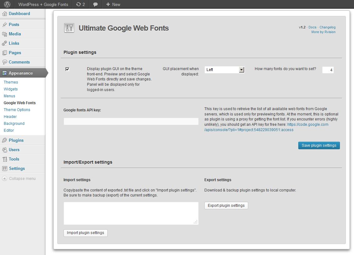 Ultimate Google Web Fonts admin interface