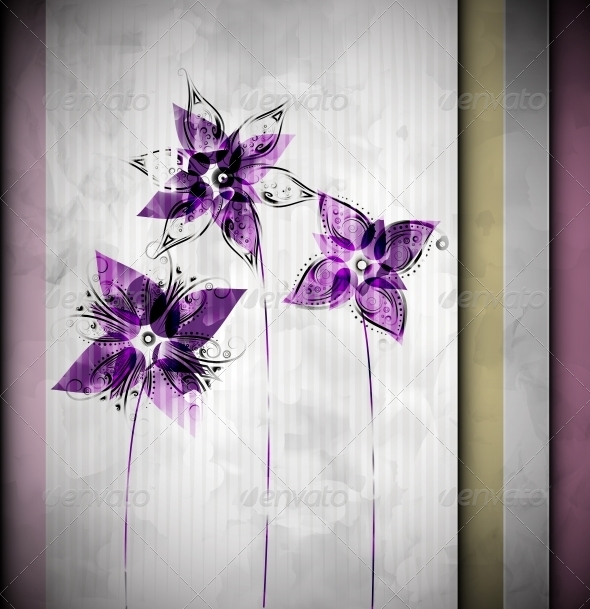 GraphicRiver Watercolor Background with Flowers 4862308