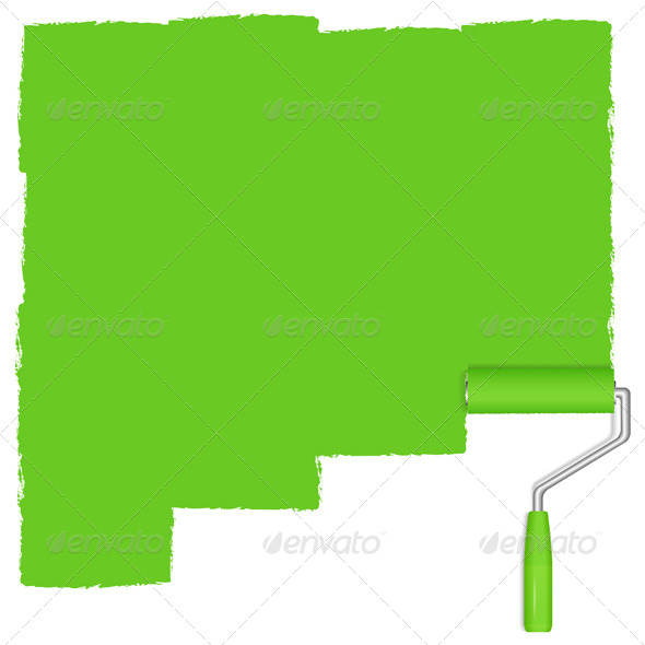 GraphicRiver Green Paint Roller 4862487