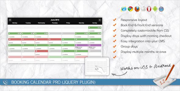 Booking Calendar PRO (jQuery Plugin) - CodeCanyon Item for Sale