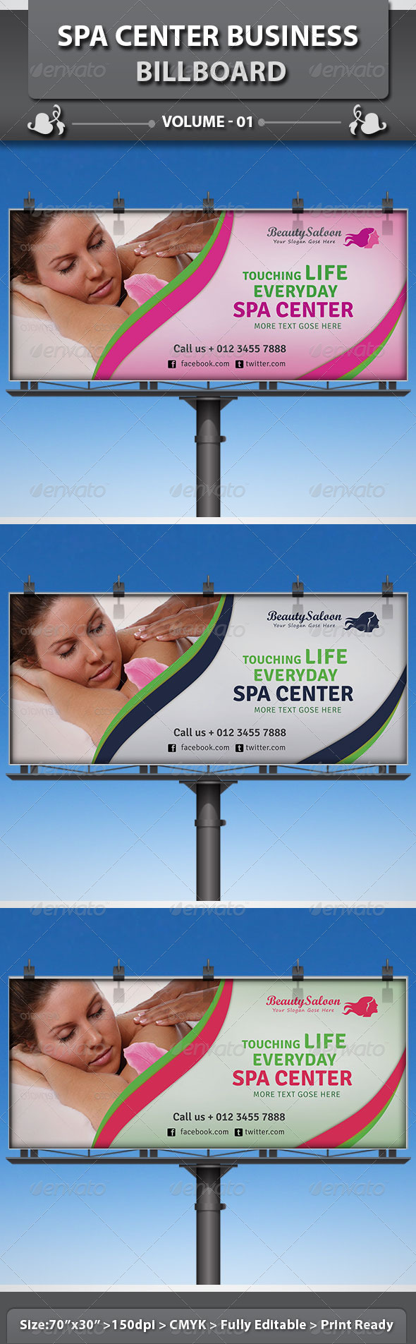 Spa & Beauty Saloon Billboard | Volume 6 - Signage Print Templates
