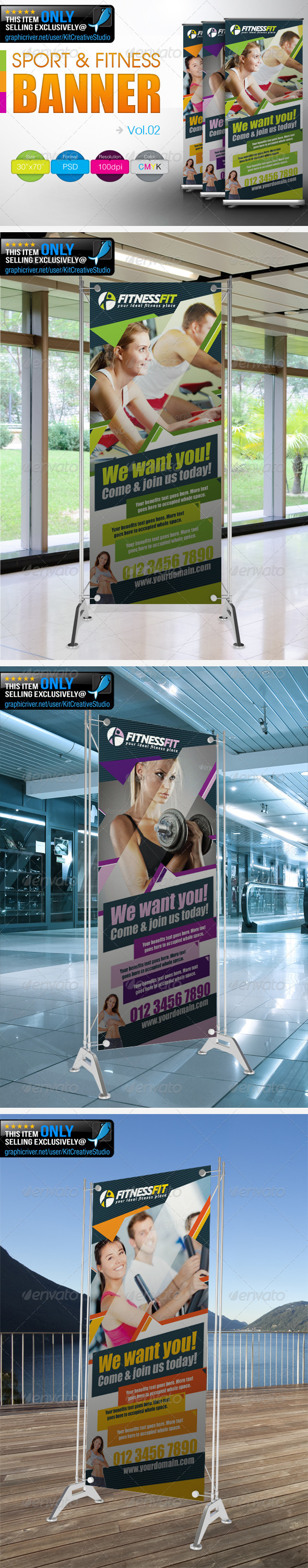 Fitness Banner Vol.2 - Signage Print Templates