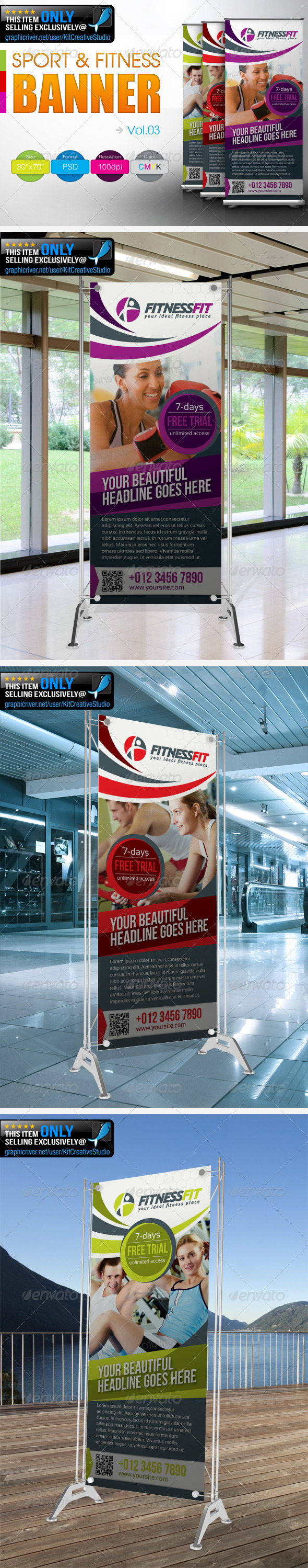 Fitness Banner Vol.3 - Signage Print Templates