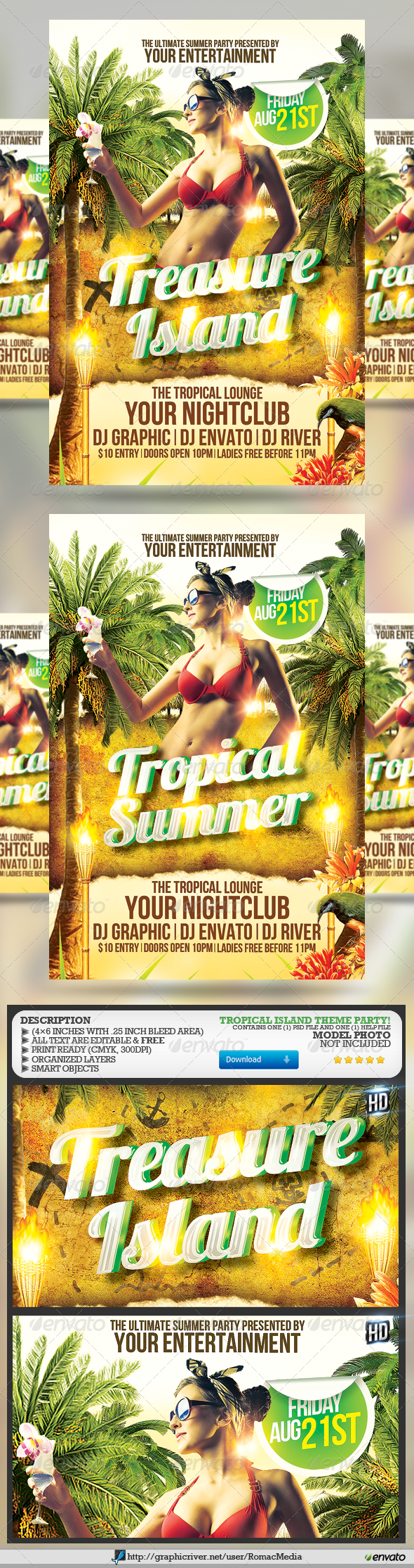 GraphicRiver Tropical Summer Party Flyer 4697417