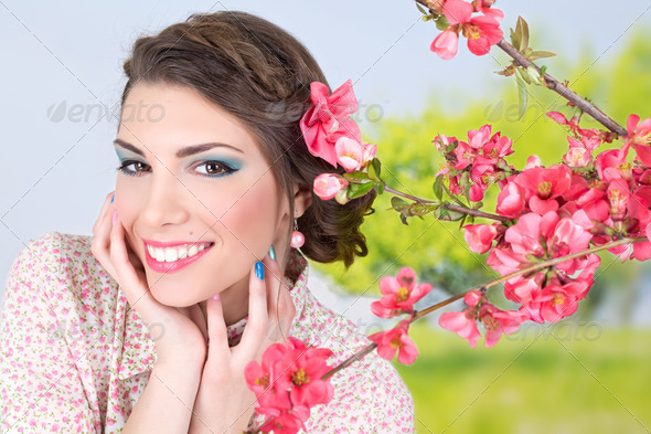 Romantic girl with flowers - Stock Photo - Images