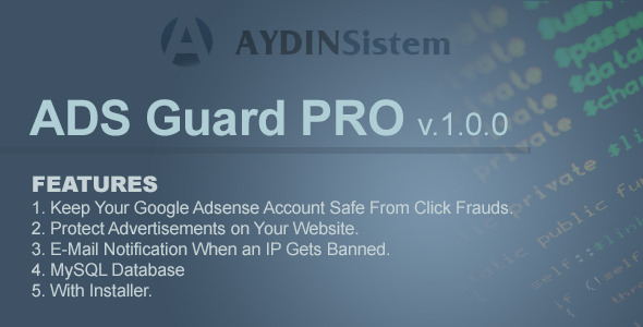 CodeCanyon ADS Guard PRO with Database and jQuery Plugin 4865426