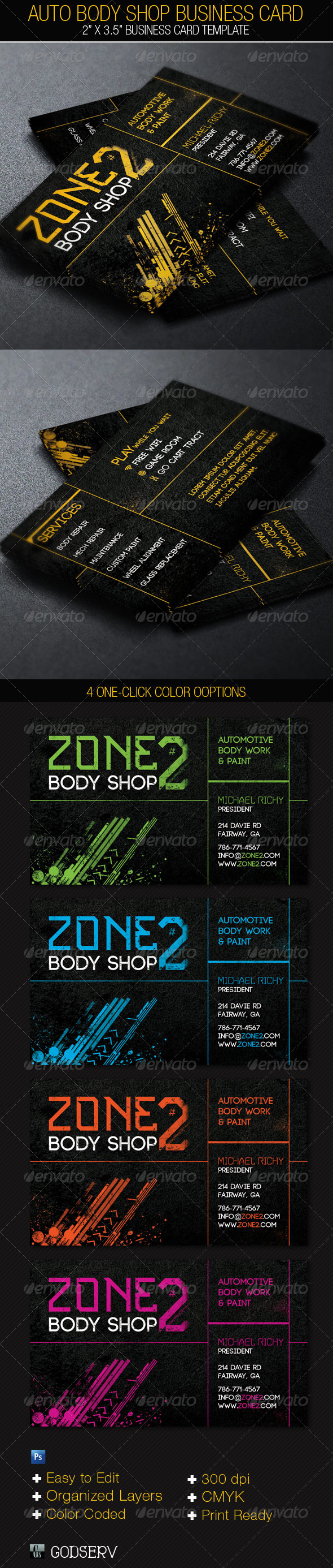 GraphicRiver Auto Body Shop Business Card Template 4865877