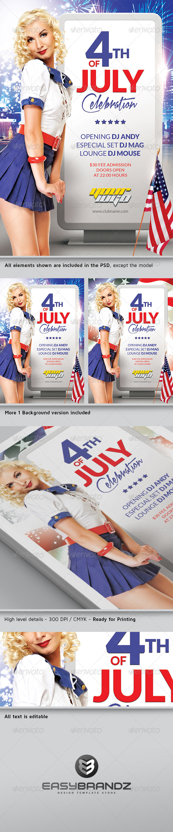 GraphicRiver 4th July Flyer Template 4784932