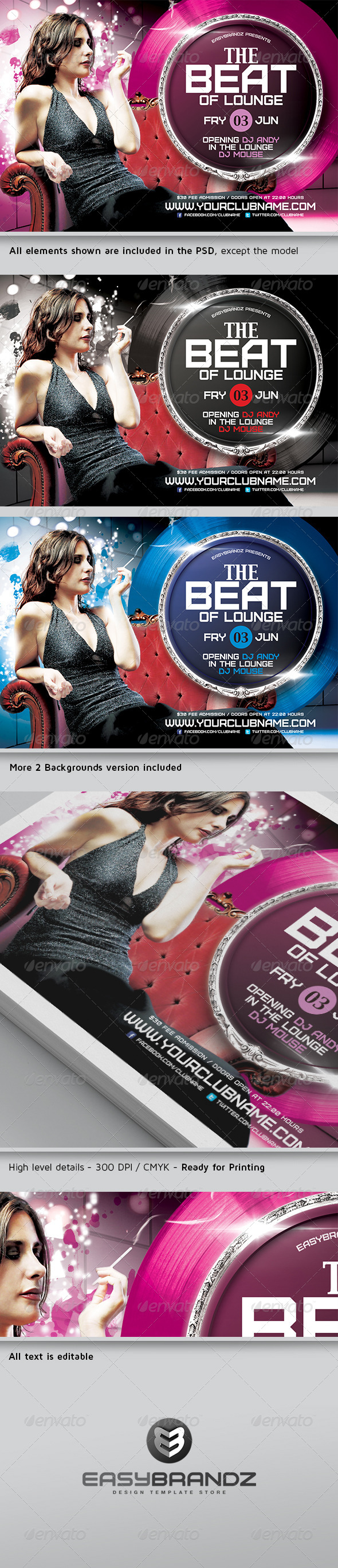 GraphicRiver The Beat of Lounge Flyer Template 4866032