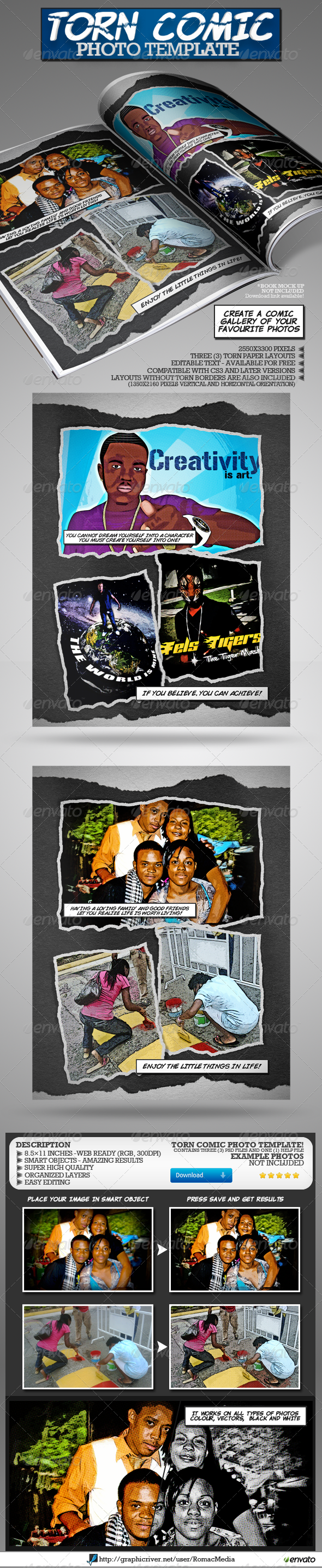 GraphicRiver Torn Comic Photo Template 4866033