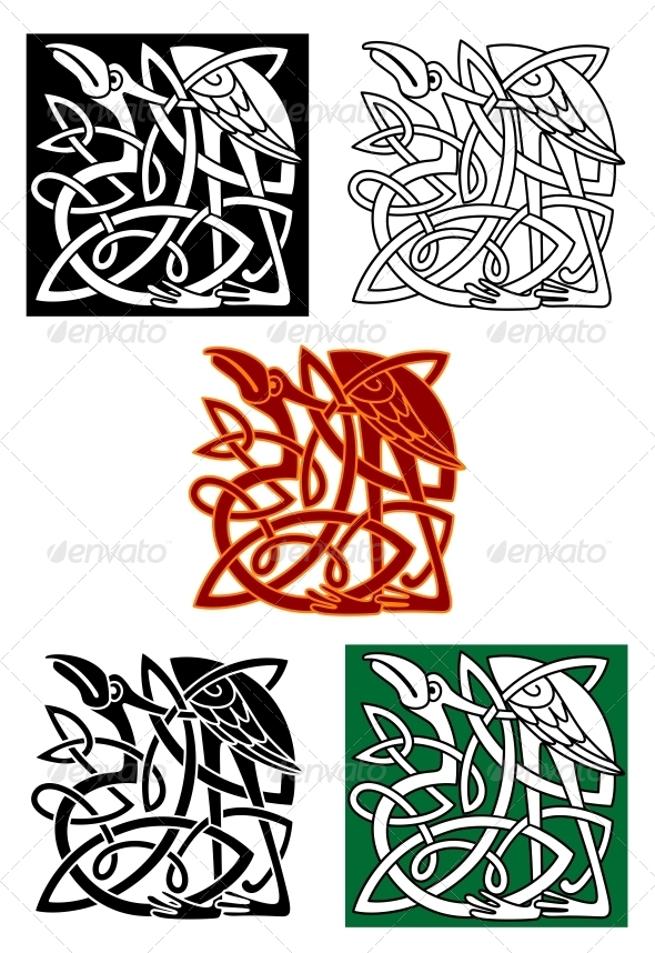 GraphicRiver Celtic Totems with Birds 4866559