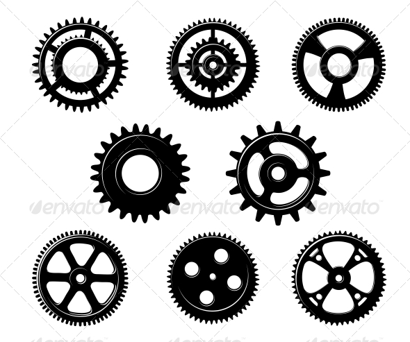 Set of Metallic Pinions and Gears - Man-made Objects Objects