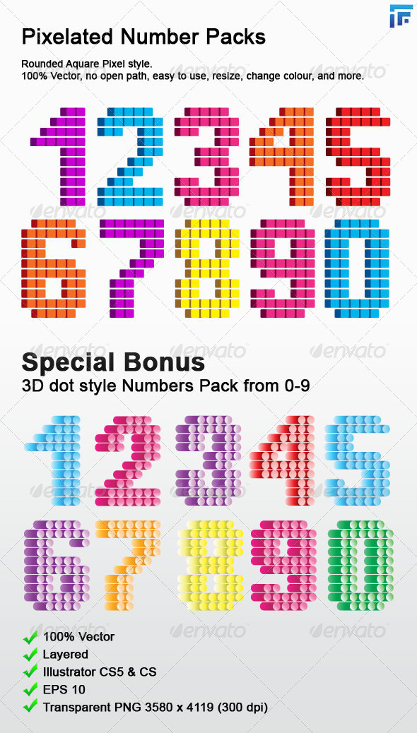 GraphicRiver Pixelated Number Pack 0-9 4866586