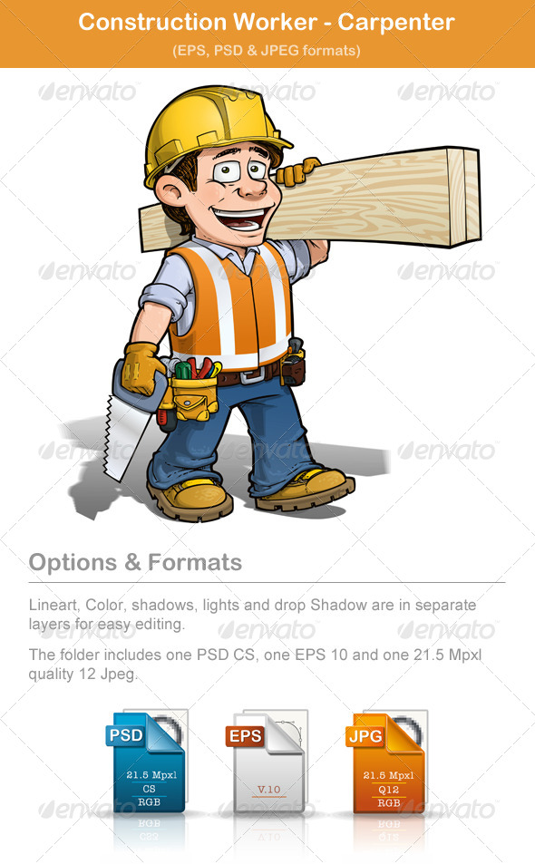 GraphicRiver Construction Worker Carpenter 4855365