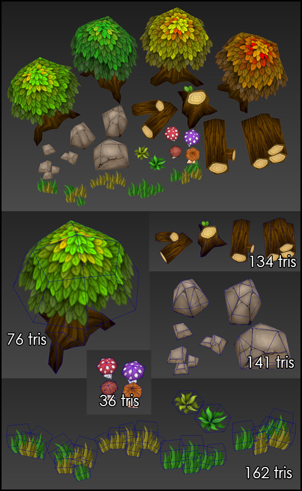 3DOcean Low Poly Forest Set 4867012