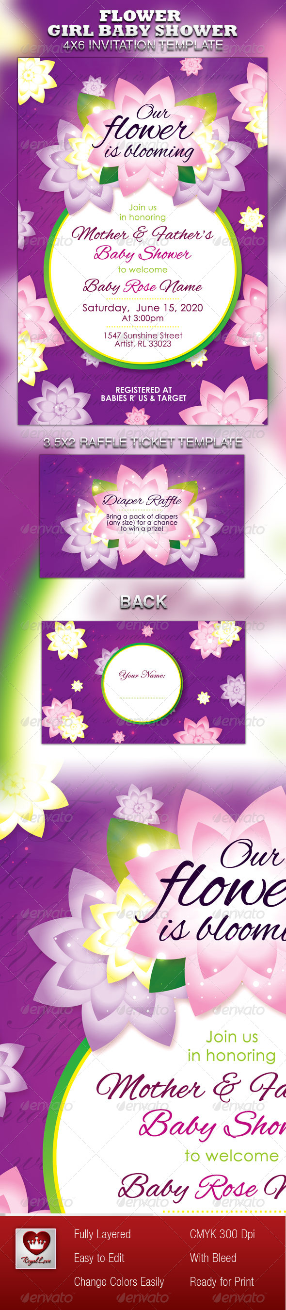 GraphicRiver Flower Girl Baby Shower Invitation & Raffle Ticket 4867528