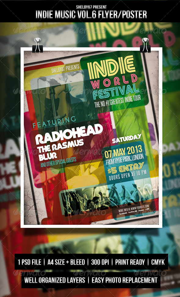 GraphicRiver Indie Music Flyer Poster Vol.6 4868882