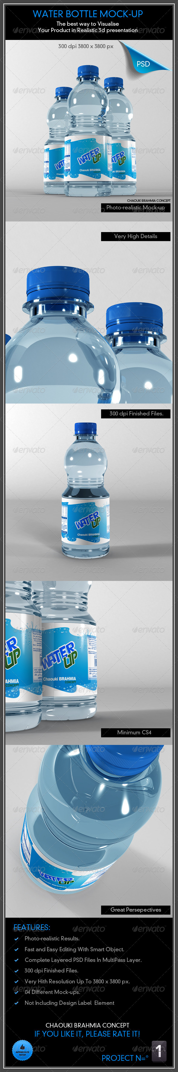 GraphicRiver Water Bottle Mock-Up 4869379