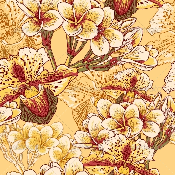 GraphicRiver Seamless Floral Pattern with Flowers 4869446