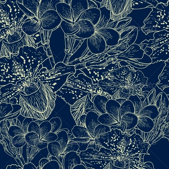 GraphicRiver Seamless Floral Pattern with Flowers 4869449