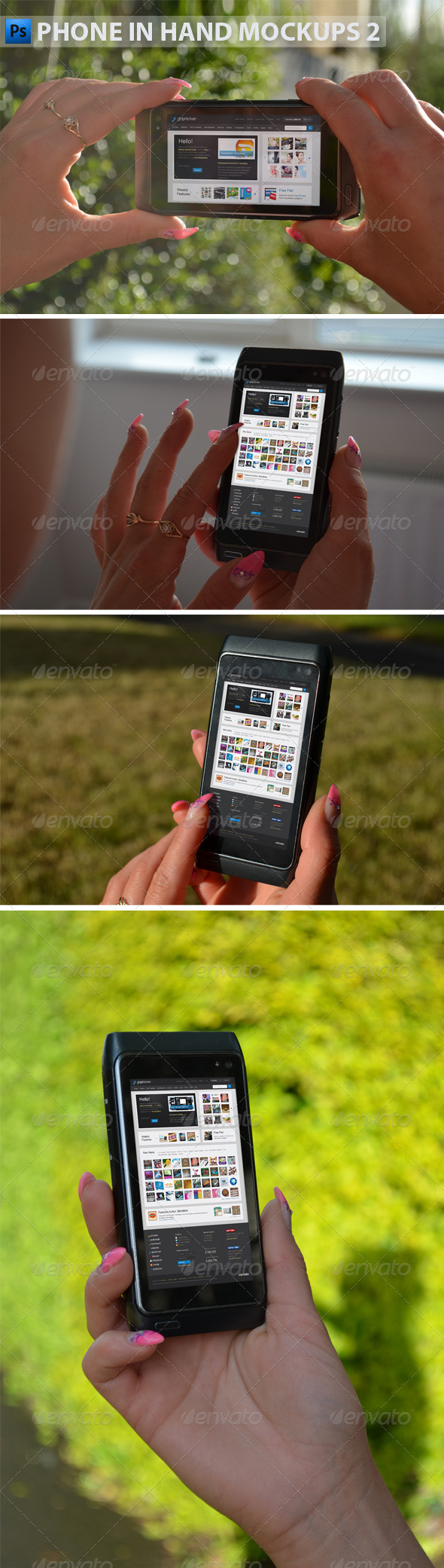 GraphicRiver Black Phone in Hand Mock-Ups 2 4869466
