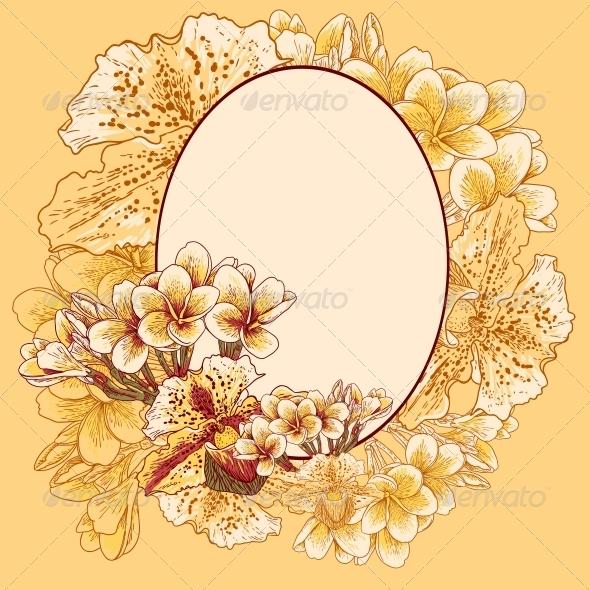 GraphicRiver Retro Frame with Flowers 4869468