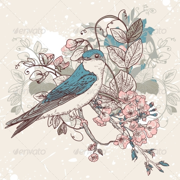 GraphicRiver Seamless Floral Background with Bird 4869836