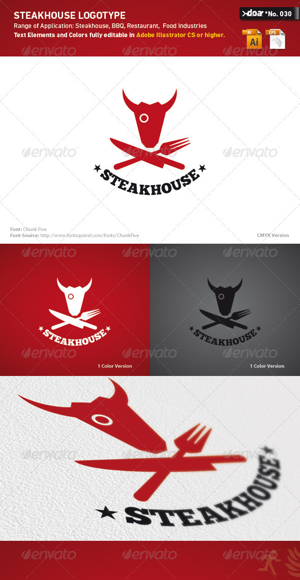 Steakhouse Logo Template - Animals Logo Templates