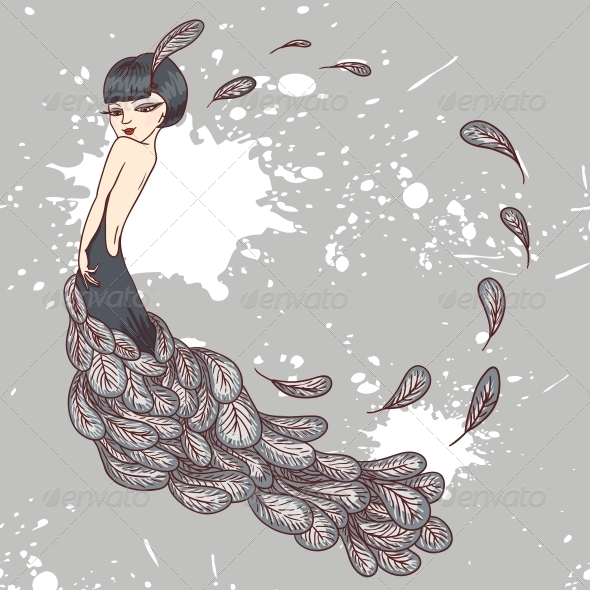 GraphicRiver Flapper Girl in a Dress of Feathers 4870056
