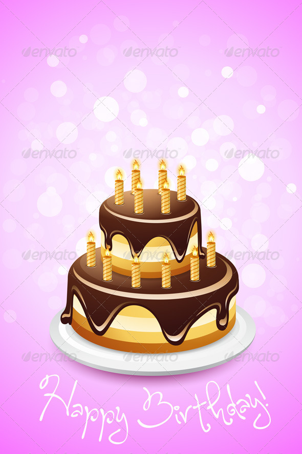 GraphicRiver Happy Birthday Card with Cake 4870269