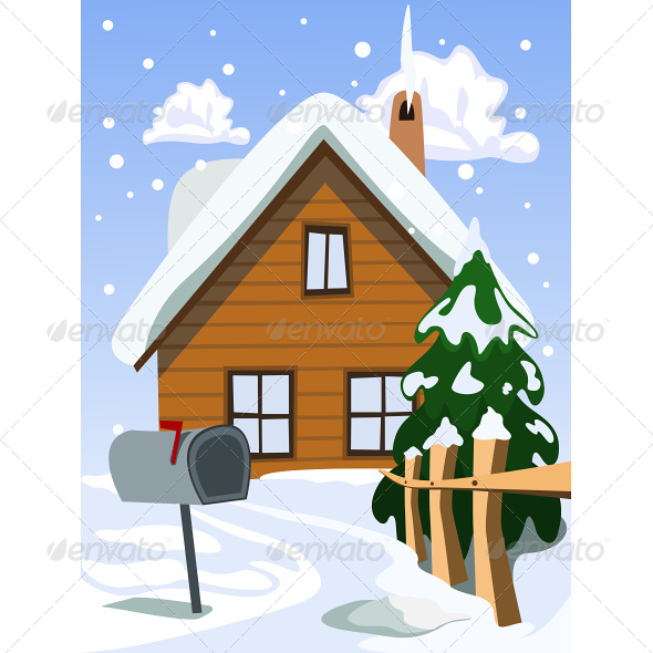 GraphicRiver Illustration of House in Snow Landscape 4870469