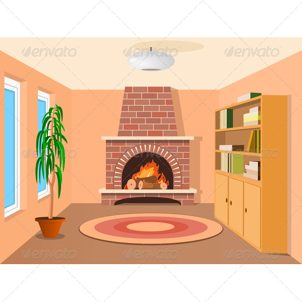 GraphicRiver View in Room with Fireplace 4870487