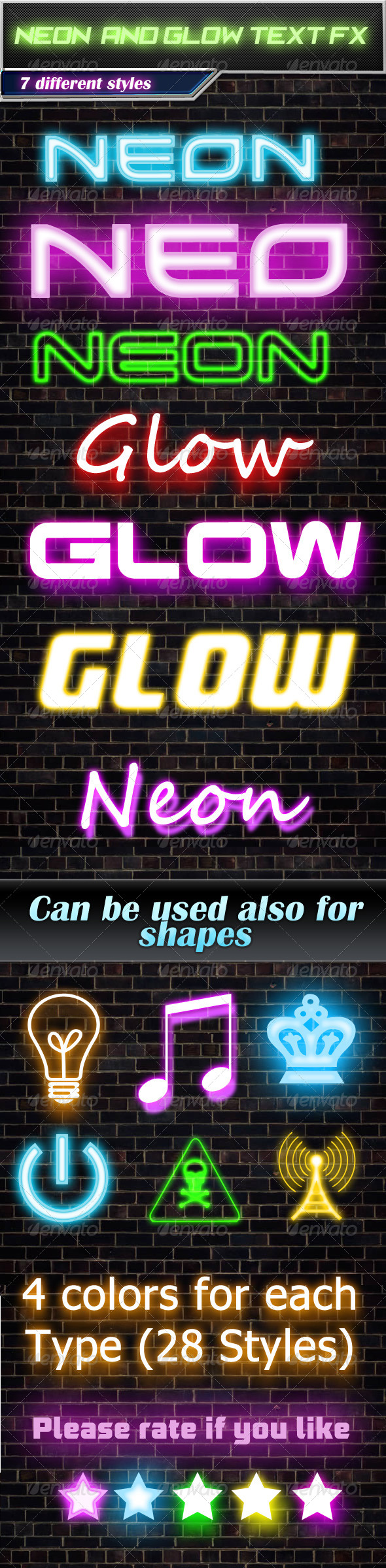 GraphicRiver 28 Neon And Glow Text Effects 4853488