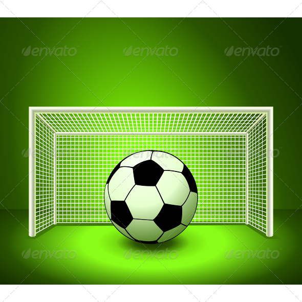 GraphicRiver Vector Soccer Ball on the Green Field 4870494