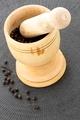 mortar and black pepper