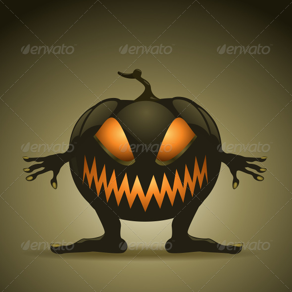 GraphicRiver Halloween Background with Monster Pumpkins 4871285
