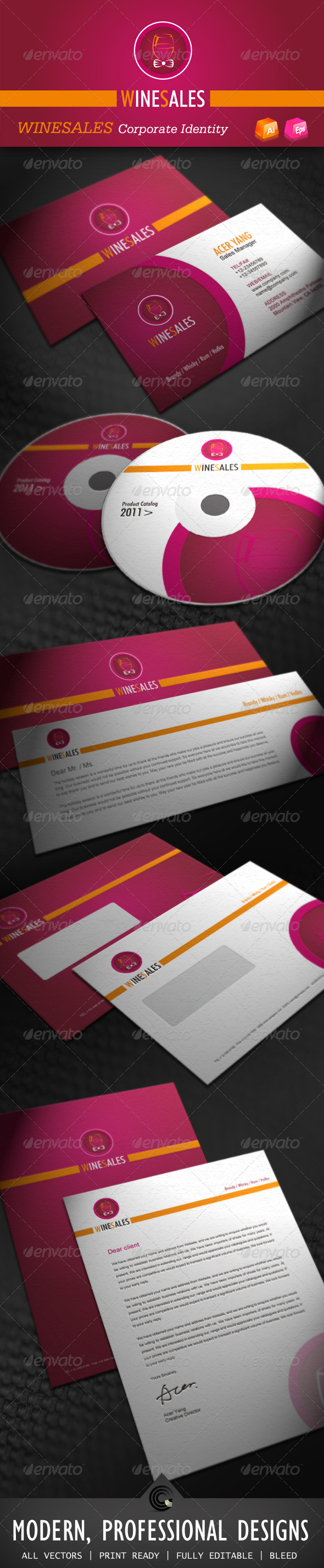 Wine Sales Corporate Identity - Stationery Print Templates