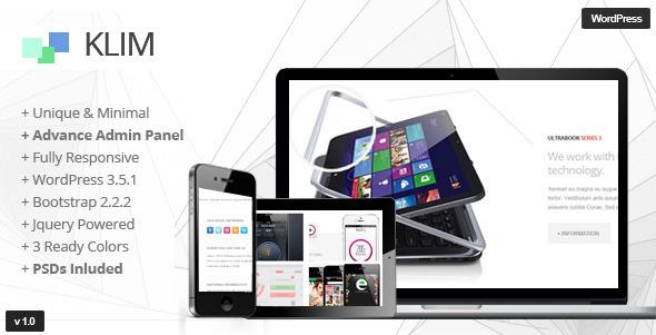 ThemeForest Klim Responsive WordPress OnePage Theme 4875040