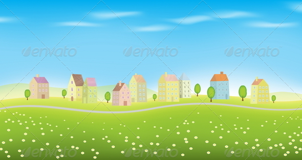 GraphicRiver Houses on Landscape 4876657