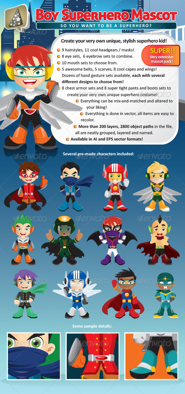 Manga Boy Superhero Mascot Creation Pack - Characters Vectors