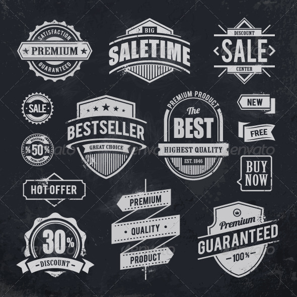 GraphicRiver Chalk Drawn Sale Emblems 4878315