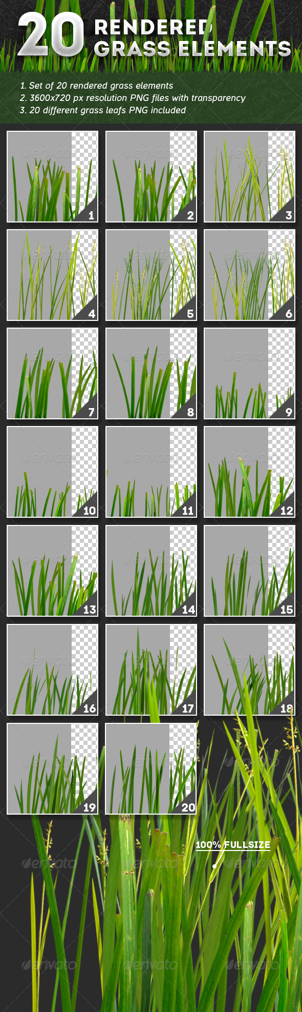 GraphicRiver 20 Rendered Grass Elements 4878485