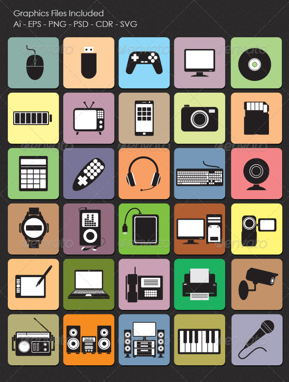 GraphicRiver Technology Icons 4879661