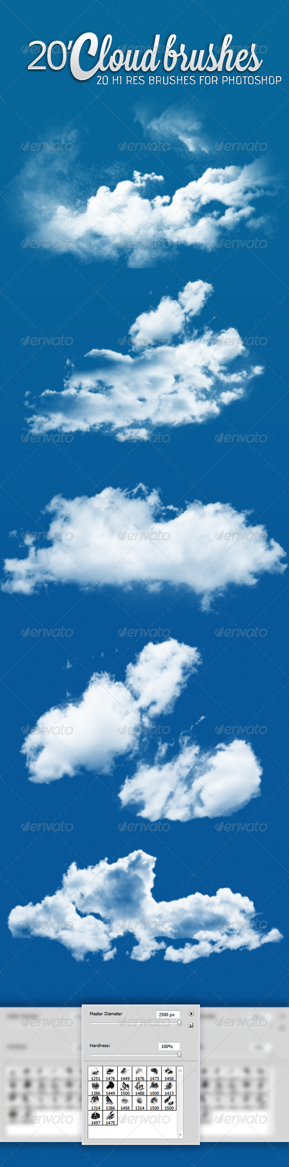 GraphicRiver 20 Realistic Cloud Brush 4880058